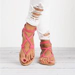 Womens Flip Flops Buckle Strap Summer Beach Flat Gladiator Sandals Crisscross with Heels