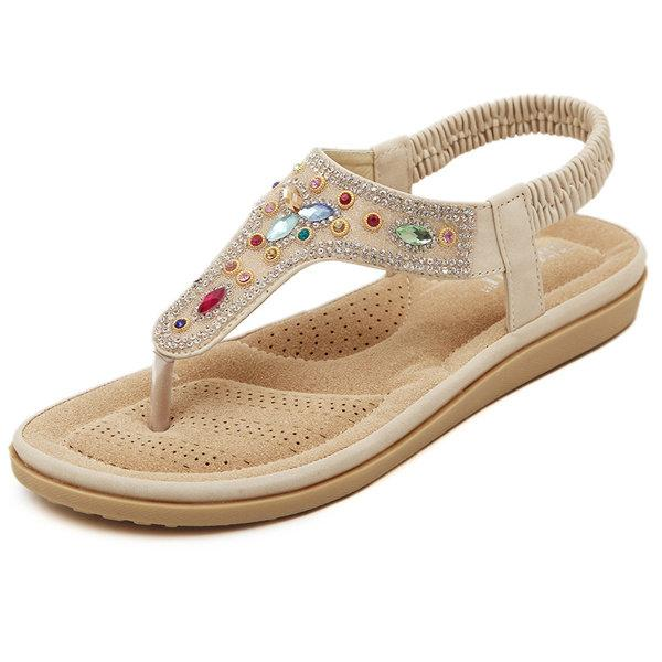 Bohemia Bead Crystal Clip Toe Elastic Flat Slip On Beach Sandals