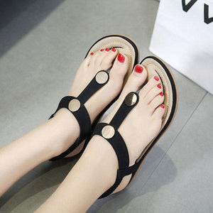 Metal Elastic Band Clip Toe Breathable Flat Sandals