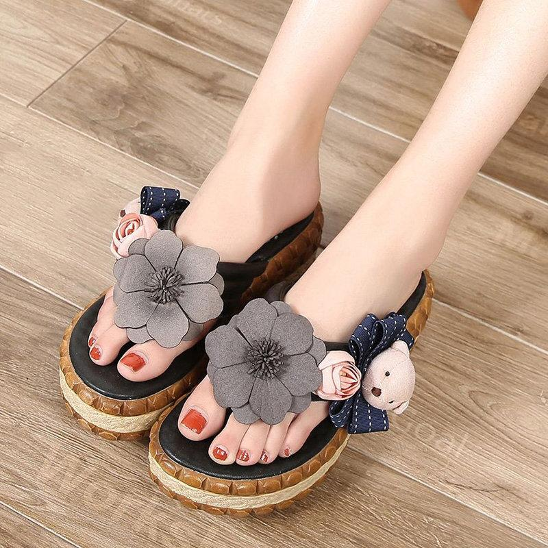 Flower Leather Vintage Platform Casual Slippers