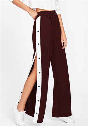 High Slit Side Button Wide Leg Pants