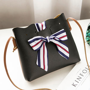Wholesale Small Shoulder Bag Bucket Type Silk Scarf Bow Tie Single PU Leather Shoulder Wallet Handbag