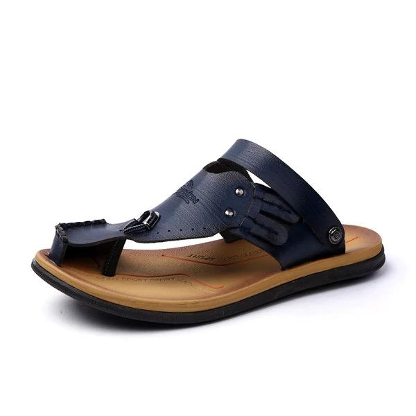 Men Anti-collision Toe Beach Sandals Hollow Out Flat Casual Shoes