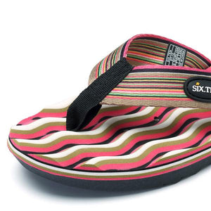 Rainbow Stripe Clip Toe Outdoor Massage Casual Beach Slippers