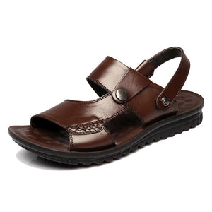 Men Genuine Leather Slip Resistant Outdoor Casual Beach Sandals