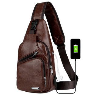 Fashion PU Leather Crossbody Shoulder Chest Bag For Men