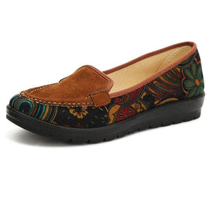 Big Size Floral Print Color Match Slip On Flat Loafers