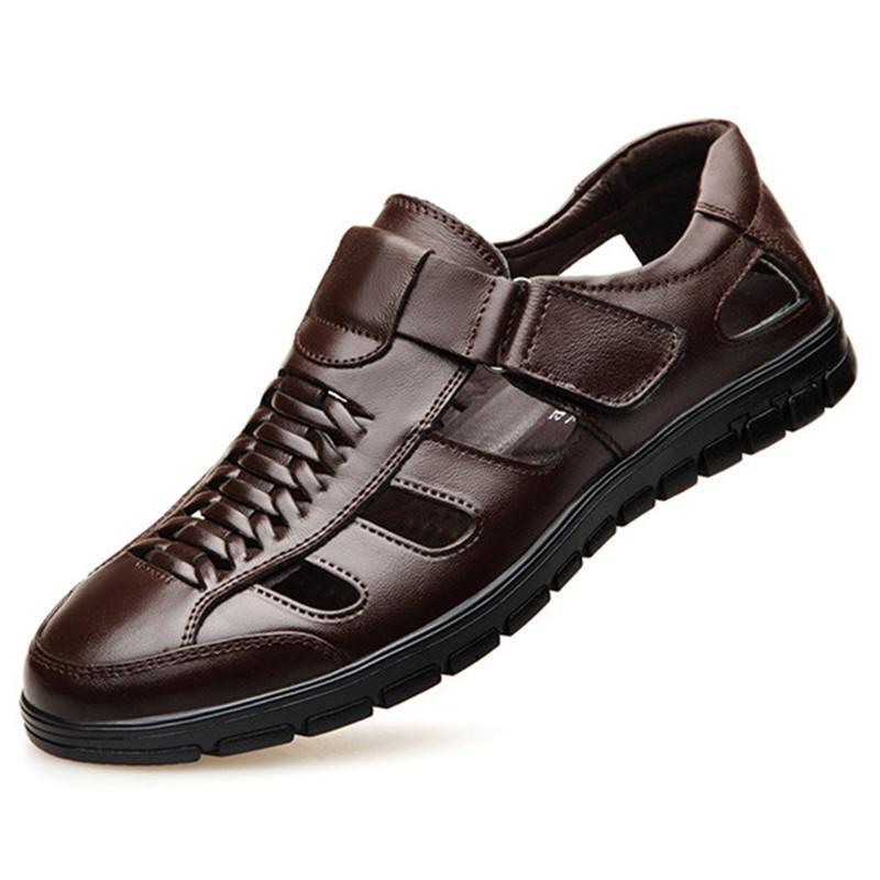 Men Leather Hollow Out Hook Loop Slip Resistant Casual Sandals