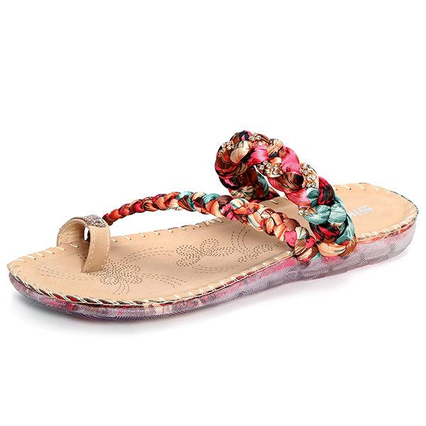 Colorful Beaded Flower Clip Toe Flat Slippers