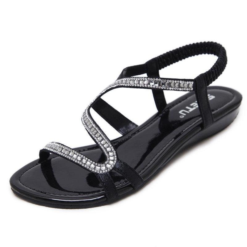 Sequined Elastic Band Elegant Flat Beach Sandals