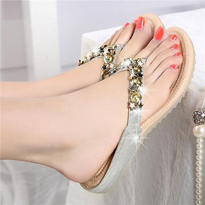 Rhinestone Decoration Flip Flops Clip Toe Slippers