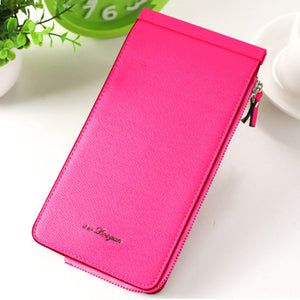 Women Microfiber Leather Multi-Card Slots Wallet Card Holders Phone Bag