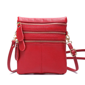 Women Genuine Leather Multi-Function Phone Bag Solid Crossbody Bag