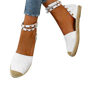 Plus Size Comfortable Rivet Adjustable Buckle Sandals