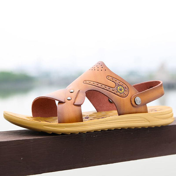 Men Microfiber Leather Breathable Casual Beach Sandals