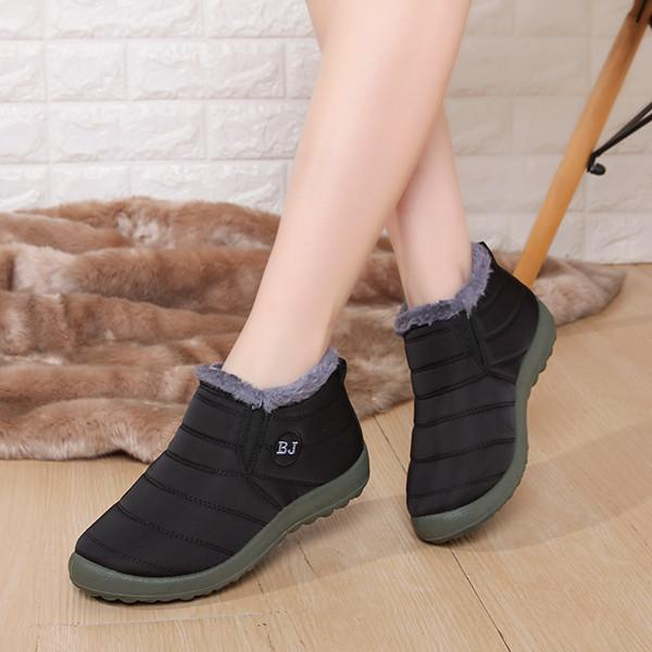 Women Letter Warm Fur Lining Flat Sole Boots
