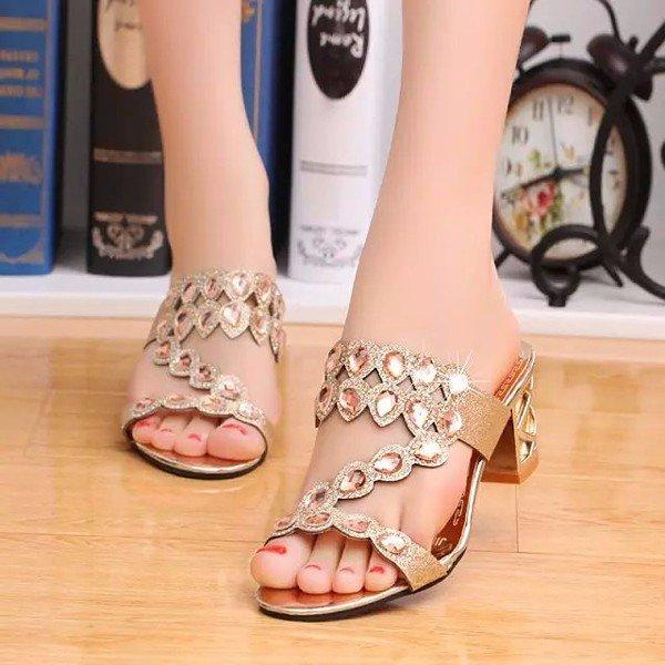 Rhinestone Beaded Crystal Y Hollow Out Square Heel Slip On Slippers