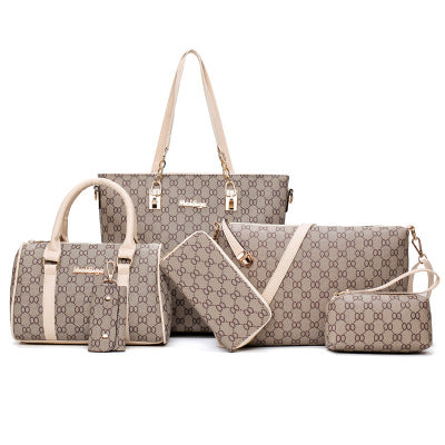 PU Large Handbag Women Ladies Shoulder Bag 6 Set Of Bag