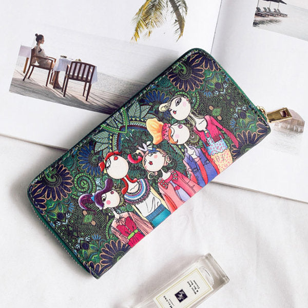 Women Bohemian Long Wallet Multi-Function Phone Bags 4 Card Slot Purse