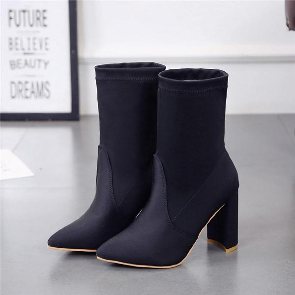 Women's Boots Pointed Toe Yarn Elastic Ankle Boots Thick Heel High Heels Shoes Woman Female Socks Boots