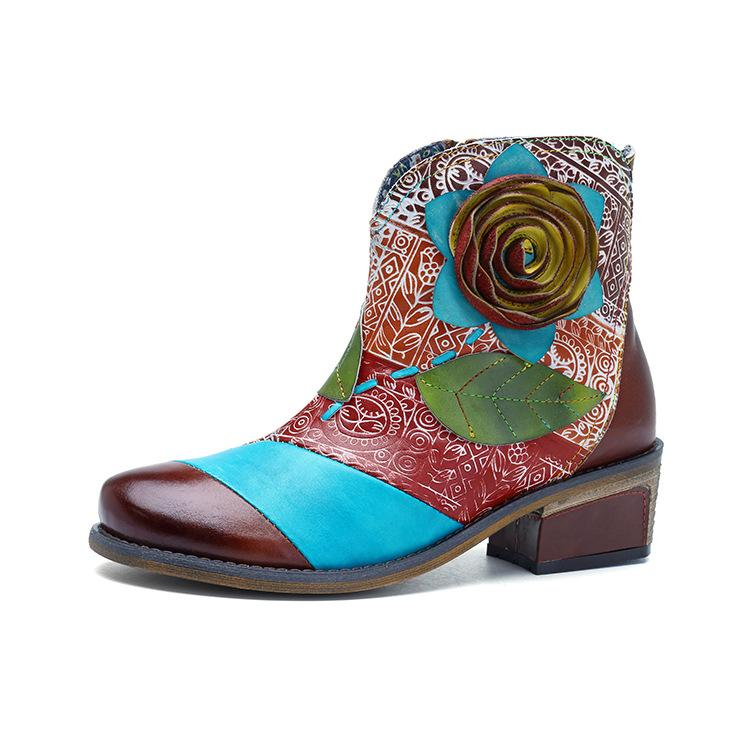 Women's Handmade Leather Casual Comfort Cowboy Boots