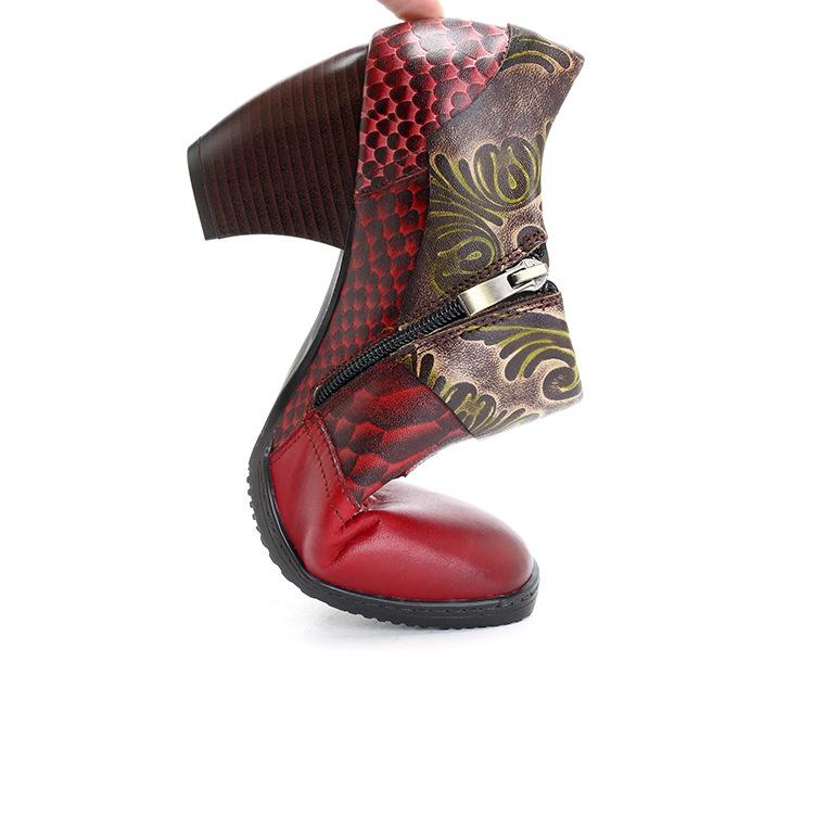 Fashion Retro Leather Women's Boots