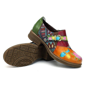 Handmade Leather Patchwork Flat Women's Shoes