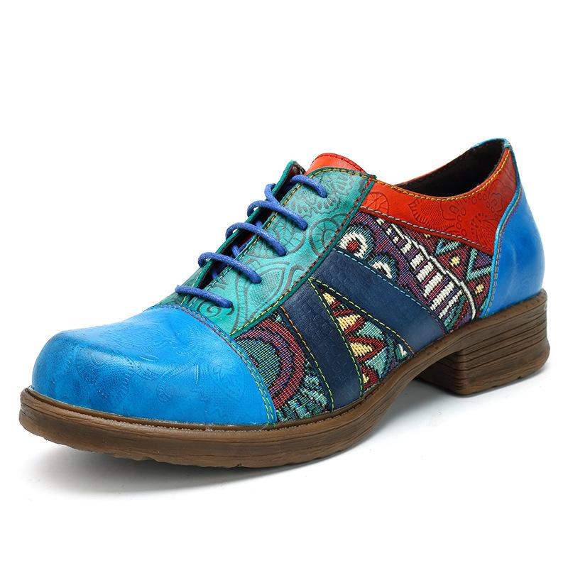 Women's Retro Casual Jacquard Splicing Lace Up Flat Leather Shoes