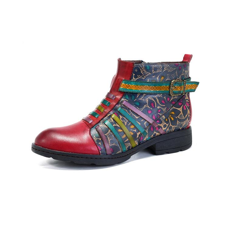 Casual Ethnic Style Leather Retro Women's Boots