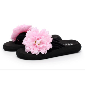 Colorful Floral Bohemia Ribbon Clip Toe Flip Folp Beach Flat Slippers
