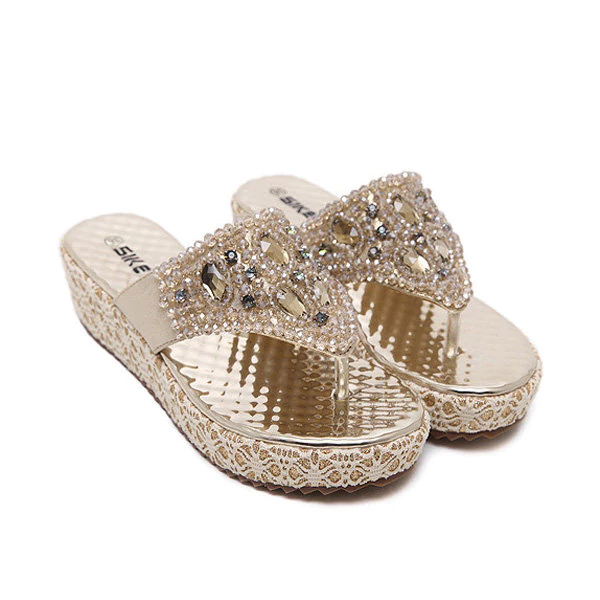 Bead Crystal Shiny Stripe Clip Toe Platform Beach Slippers Flip Flops