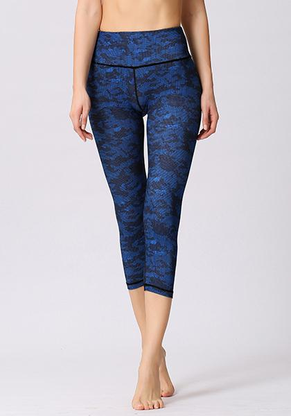 Camo Blue Printed High Waist Capris