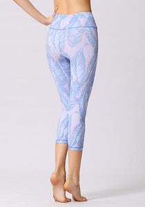 Purple Leaf Printed High Waist Capris