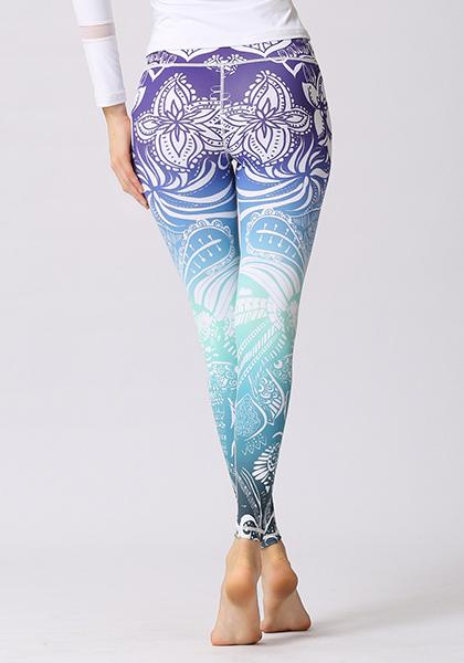 Purple Ombre Mandala Printed Leggings