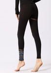 Waves Pattern Printed Mesh Leggings