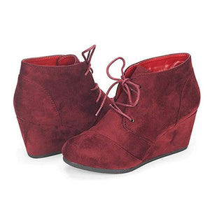 Women Ankle Boots Women High Heels Wedge Lace Up Shoes Woman Autumn Vintage Booties