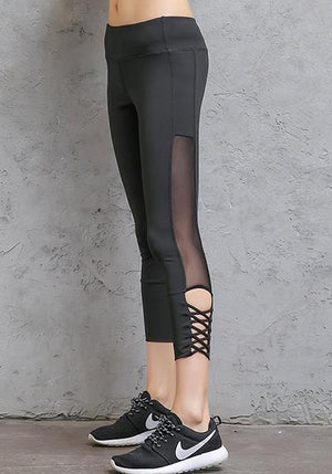 High Waist Sexy Quick-Drying Stretchy Mesh Yoga Capris Pants