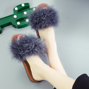 Fur Open Toe Fluffy Flat Slip On Cute Home Indoor Slippers