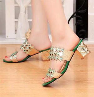 Floral Crystal Beaded Bling Peep Toe Hollow Out Square Heel Slip On Slippers