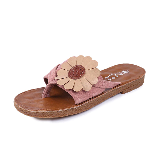 Flower Clip Toe Soft Sole Flat Beach Slippers
