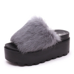 Furry Peep Toe Flat Indoor Outdoor Casual Slipper
