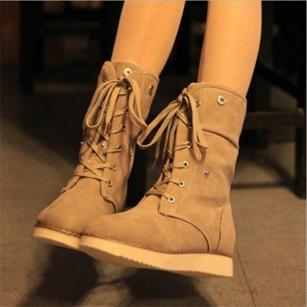 Winter Women Sweet Thick Snow Boots Cotton Padded Short Thermal Casual lace-up Flat Boots