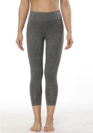 Stretchy Mesh Patchwork Pocket Yoga Capris Pants