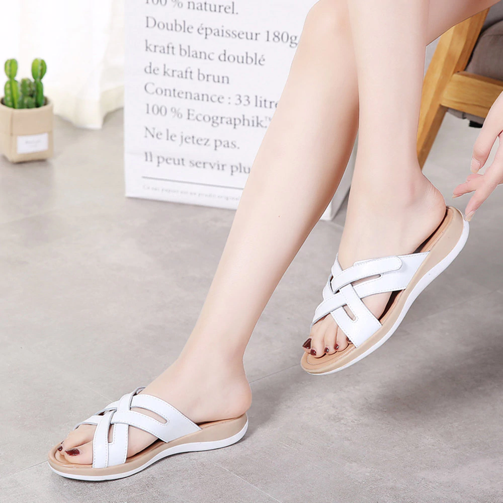 Leather Knitting Beach Sandals Flat Casual Slippers
