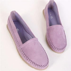 Women Female Loafers Soft Leather Rubber  Flats Shoes