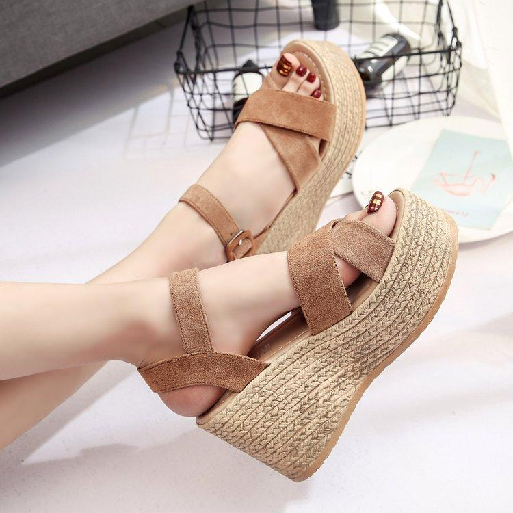 Dijigirls Summer Buckle Women's Sandals Velvet Flock Fish Mouth Fashion high Heel Platform Open Toes Women Sandals Shoes