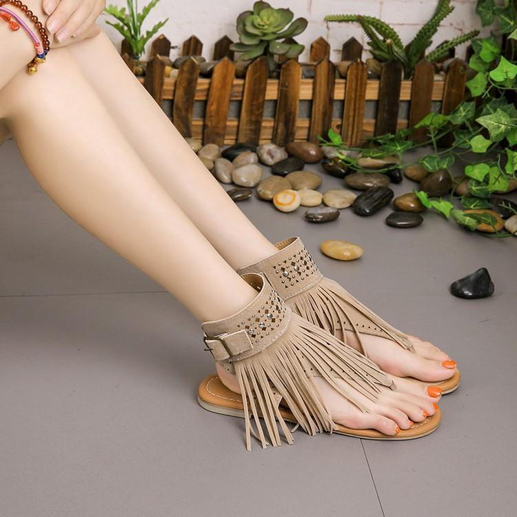 Beach Fringe Buckle Flip-flops Sandals