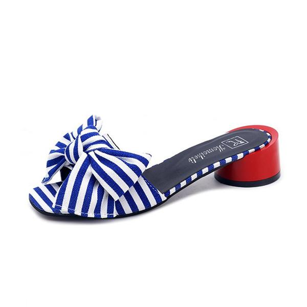 Striped Bowknot Daily Slippers