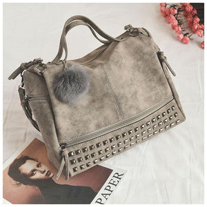 Fashion Nubuck Leather Studded Tote Bag