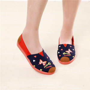 Canvas Printing Flower Flat Shoes